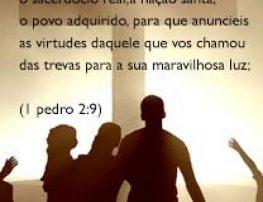 Mas vós sois a geração eleita, o sacerdócio real, a nação santa, o povo de propriedade exclusiva de
